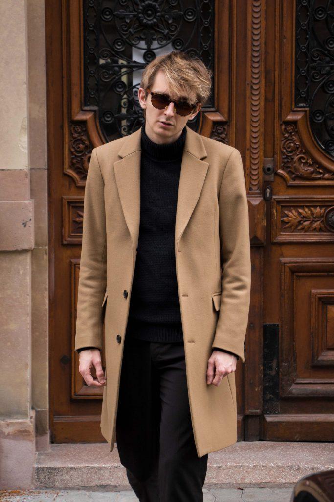 camel coat manteau homme man men sandro paris male blogger. Black Bedroom Furniture Sets. Home Design Ideas